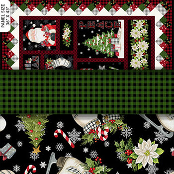 Group swatch farmhouse Christmas themed fabrics in various styles/colours