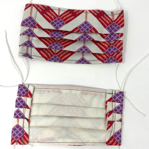 Front and back photo: pick your print face mask (white/grey face mask with red and purple chevron pattern and white elastic ear loops)