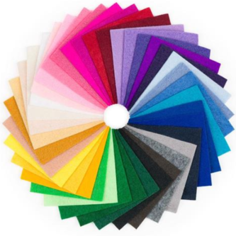 Craft felt sheets fanned into a circle to present all available shades