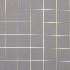 Swatch of grey flannel grid printed fabric