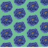 Swatch of flower printed fabric in blue