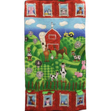 Full swatch funny farm play mat/wall hanging (Red barn and farm scene on hills)