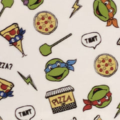 Square swatch TMNT fabric (white fabric with turtle heads, pizza related emblems and lightning bolts tossed)