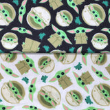 Group swatch Baby Yoda print fabrics in black and white
