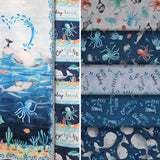 Group swatch assorted whale themed fabrics in various styles/colours