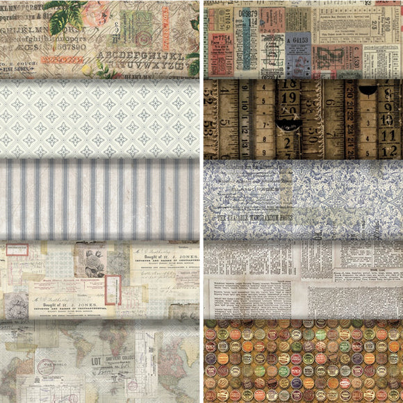 Group swatch vintage collage printed fabrics in various styles