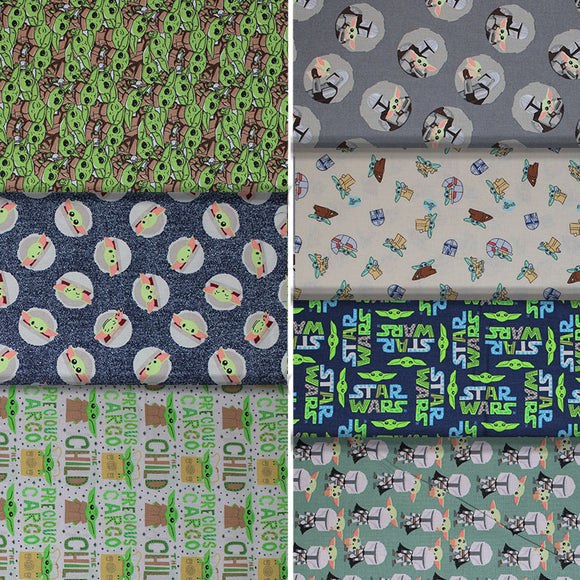 Group swatch licensed Star Wars (The Child) printed fabrics in various styles/colours
