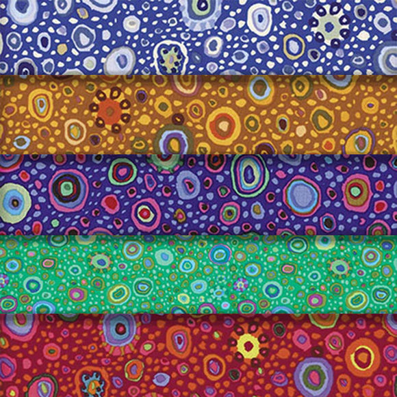 Group swatch multi-coloured Roman glass printed fabric in various colours