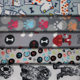 Group swatch dogs printed fleece fabrics in various styles and colours