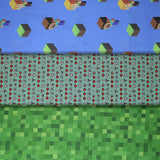 Group swatch assorted Minecraft (licensed) printed fabrics in various styles