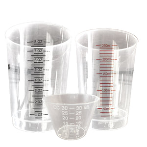 Clear mixing cups in a variety of sizes