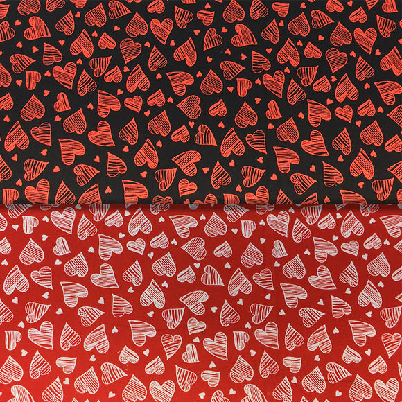 Group swatch heart scribble printed fabric on black and red backgrounds