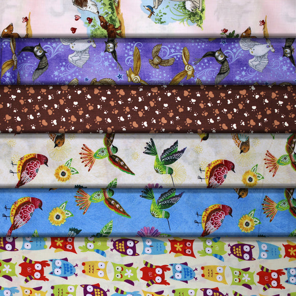 Group swatch animal themed printed fabrics in various styles