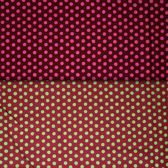 Group swatch assorted dots on burgundy fabrics