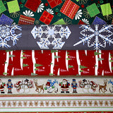 Group swatch assorted Christmas printed fabrics in various styles