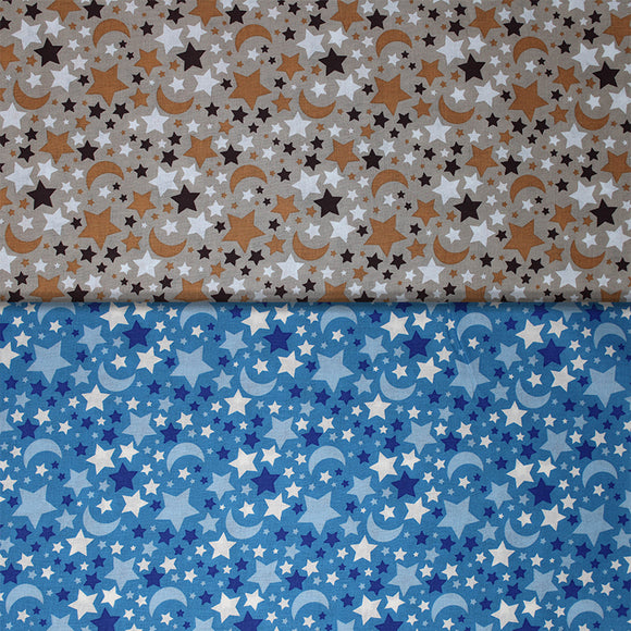 Group swatch small stars and moons printed fabric in various colours