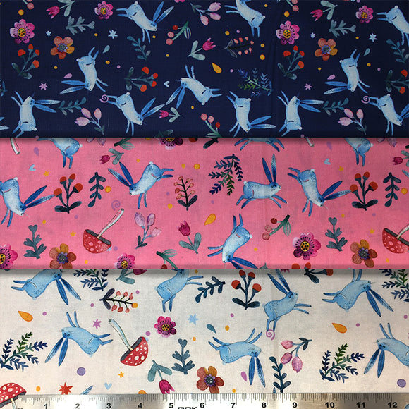 Group swatch woodland bunnies printed fabric in various colours