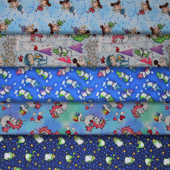 Group swatch magical themed printed fabrics in various styles/colours