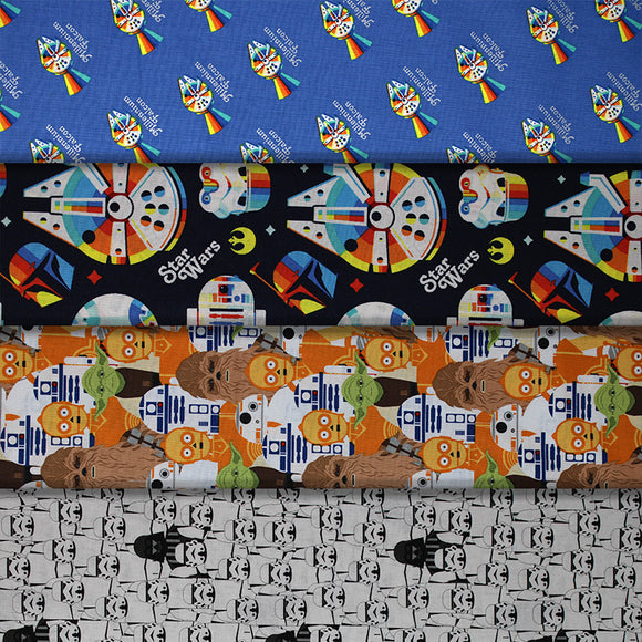 Group swatch Star Wars licensed print fabrics in various styles