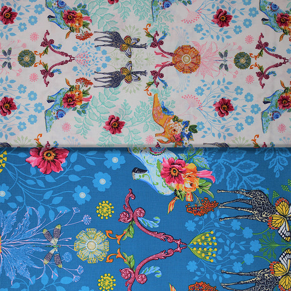 Group swatch busy floral and animal printed fabrics in various colours/styles