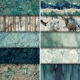Group swatch of assorted whispering pines fabrics from Northcott