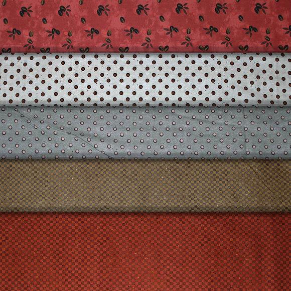 Group swatch coffee themed printed fabrics in various styles