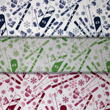 Group swatch of snow sport print fabric in a variety of colours