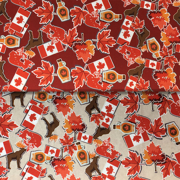 Group swatch cartoon moose and maple printed fabric in various colours