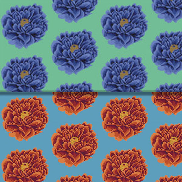 Group swatch flower printed fabric in various colours