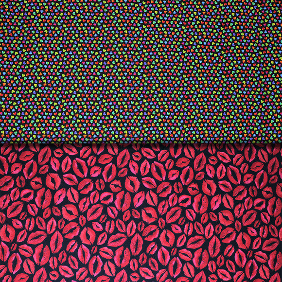 Group swatch lips & kisses style fabrics in various colours/styles