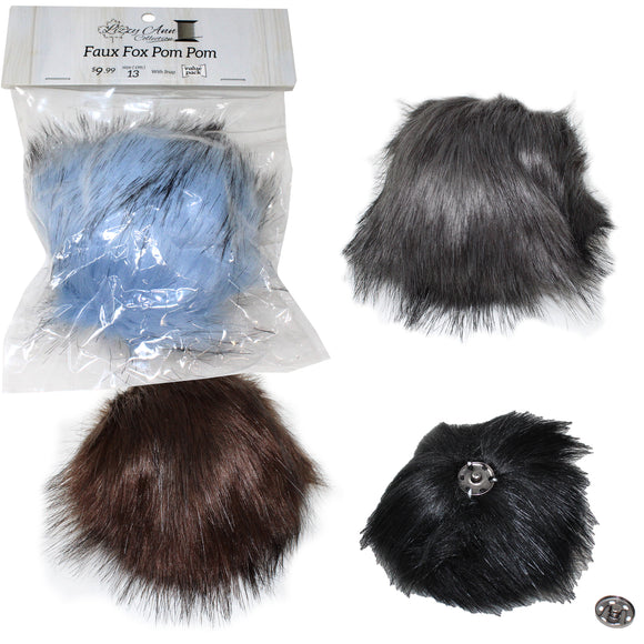 Group swatch faux fox (long hair) pom pom in various colours