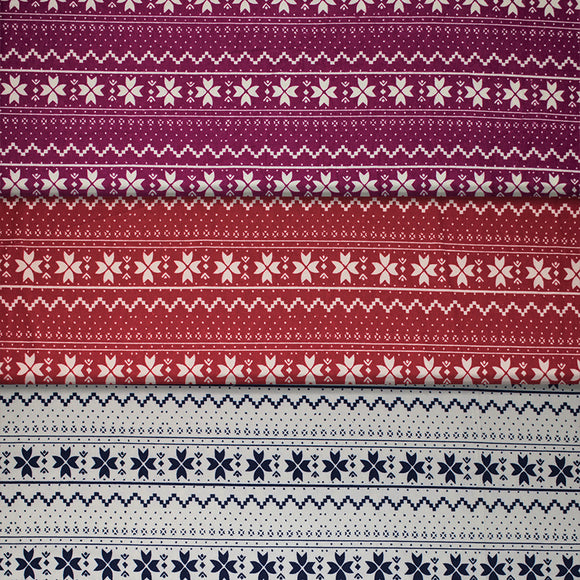 Group swatch winter pattern fabric in various colours