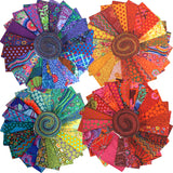 Group swatch of Kaffe Fassett design roll precuts in various colours