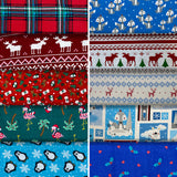 Group swatch winter themed flannels in various styles/colours