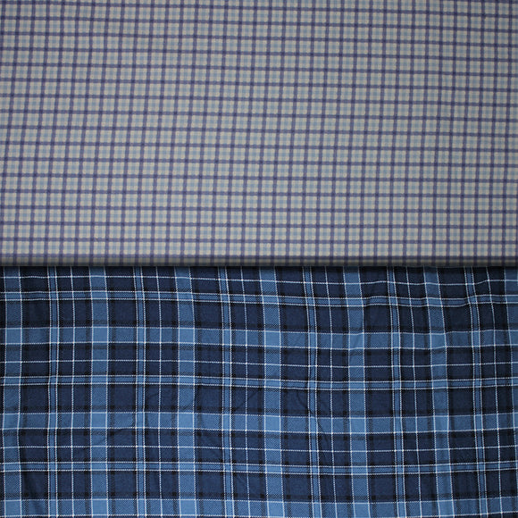Group swatch assorted plaid fabrics in various styles