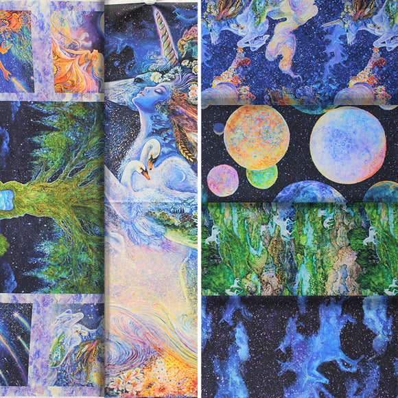 Group swatch assorted fabrics from the Celestial Journey collection in various styles
