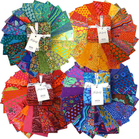 Group swatch of Kaffe Fassett fat quarter precuts in various colours