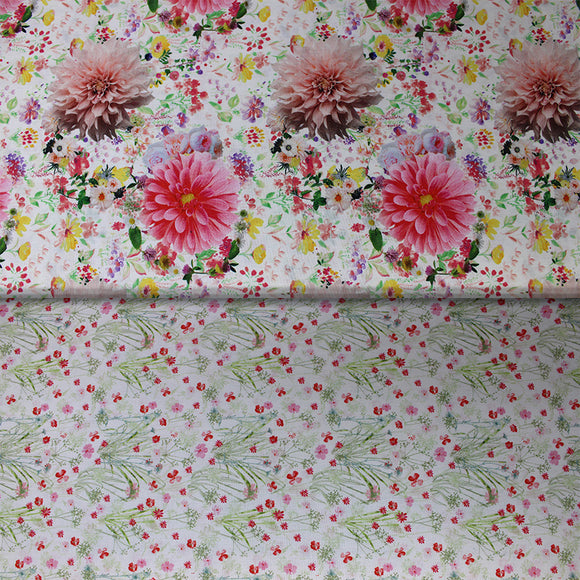 Group swatch assorted floral printed fabrics in various colours/styles