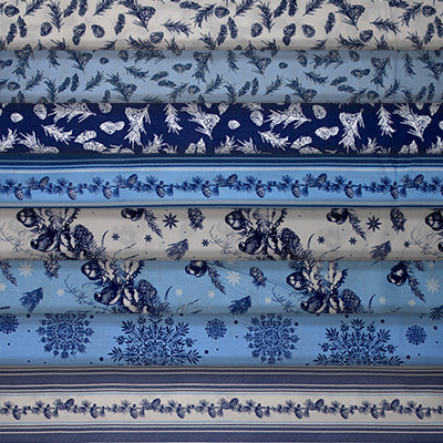 Group swatch assorted winter printed fabrics in various styles