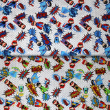 Group swatch of cartoon superhero print pattern in various colours