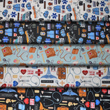 Group swatch assorted medical/doctor themed printed fabrics in various styles/colours