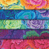 Group swatch floral printed fabric in various colours