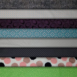 Group swatch assorted circles & dots print fabrics