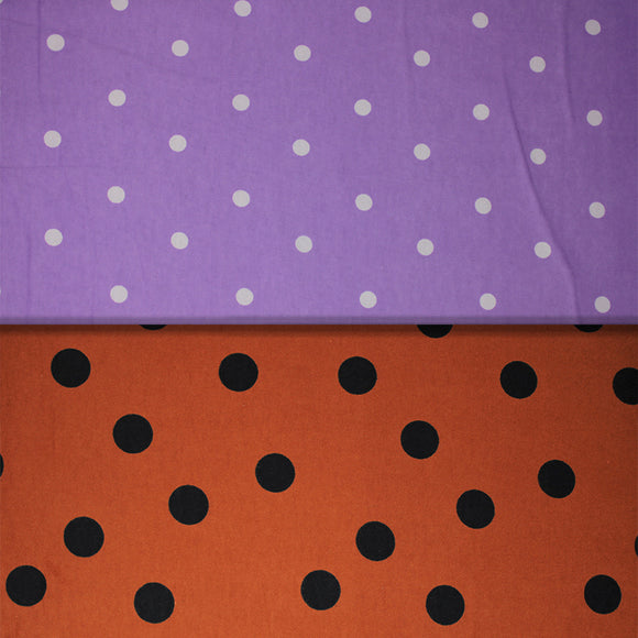 Group swatch assorted polka dot printed fabrics in various colours