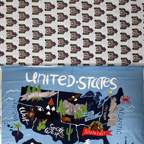 Group swatch Celebrate America! printed fabrics in various styles