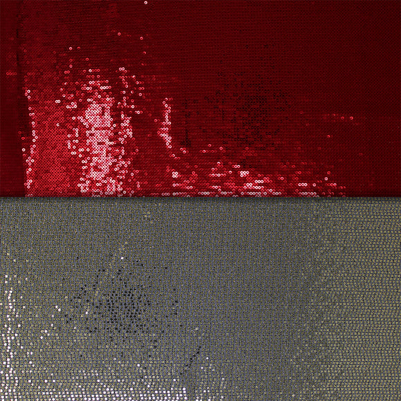 Group swatch sequin mesh in red and grey