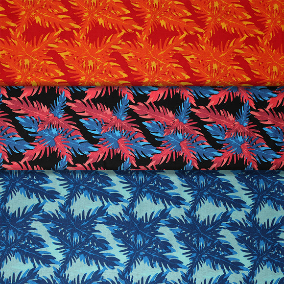 Group swatch big leaves printed fabric in various colours