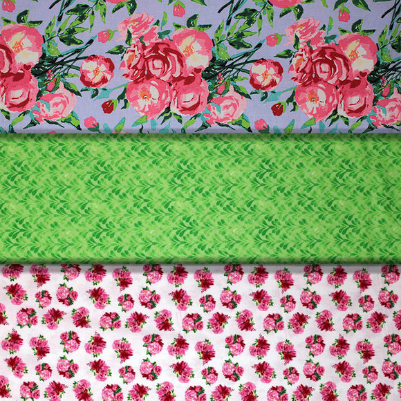 Group swatch garden themed printed fabrics in various styles