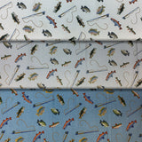 Group swatch of fish and rod printed fabric in various colours