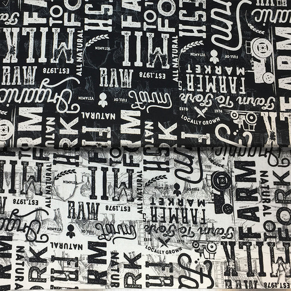 Group swatch farm to fork large font text printed fabric in black and cream